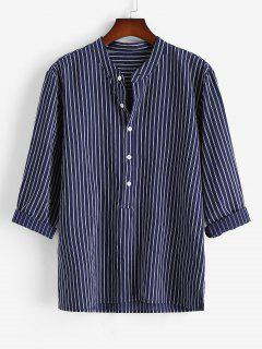 Half Button Striped Print Shirt - Deep Blue 3xl