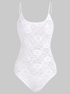 Snap Crotch Lace Teddy - White L