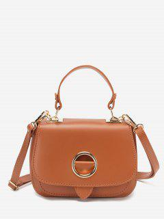Solid O-Ring Embellished Top Handle Crossbody Bag - Light Brown