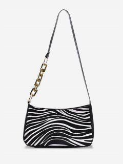 PU Retro Zebra Shoulder Bag - Milk White