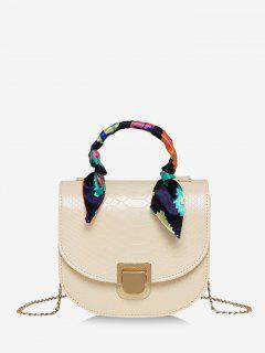 Scarf-Wrap Handle Textured Chain Mini Crossbody Bag - Warm White