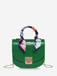 Scarf-Wrap Handle Textured Chain Mini Crossbody Bag - Deep Green