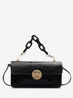Retro Stone Grain Chunky Chain Mini Crossbody Bag - Black