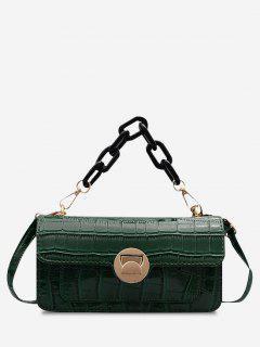 Mini Sac à Bandoulière Avec Chaîne Épaisse Motif Planches En Pierre Style Rétro - Vert Profond