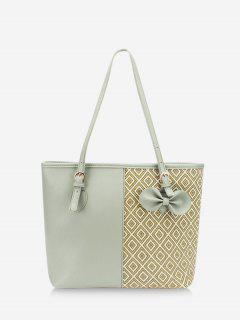 Bowknot Rhombus Pattern Tote Bag - Dark Sea Green