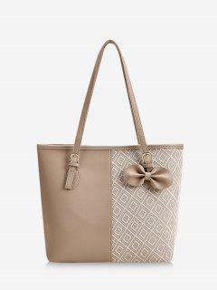 Bowknot Rhombus Pattern Tote Bag - Camel Brown
