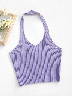 Ribbed Halter Backless Slim Crop Top - Light Purple