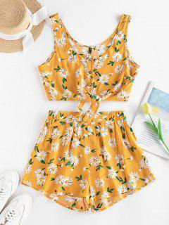 ZAFUL Floral Button Up Tie Hem Wide Leg Shorts Set - Deep Yellow S