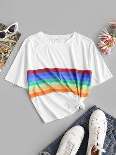 Rainbow Striped Short Sleeves Crop Tee - Orange M