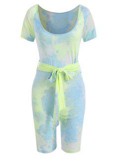 Tie Dye Scoop Neck Belted Cycling Romper - Light Blue M