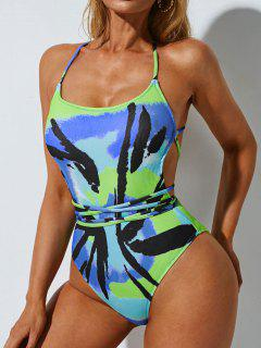 ZAFUL Tie Dye Ribbed Lace Up Backless One-piece Swimsuit - Multi M