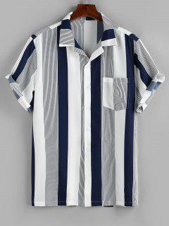 ZAFUL Button Up Striped Print Pocket Shirt - Deep Blue Xxl