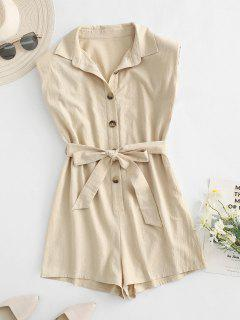ZAFUL Belted Shoulder Pad Button Placket Romper - Light Coffee M