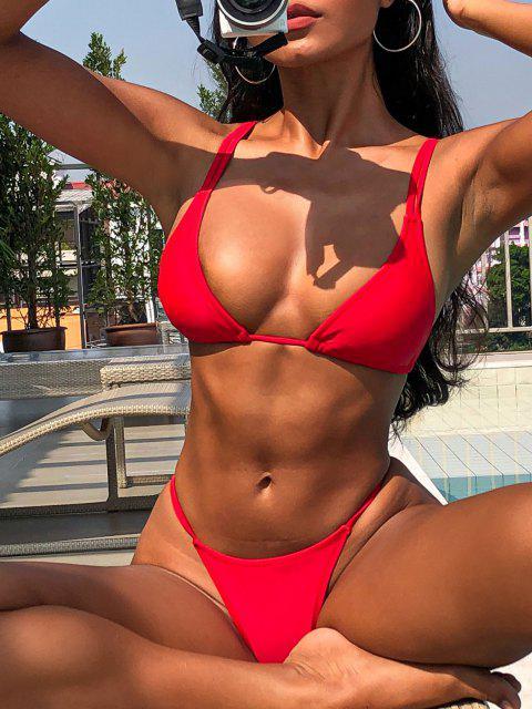 Doble Correas del Tanga del Bikini - Amo Rojo L Mobile