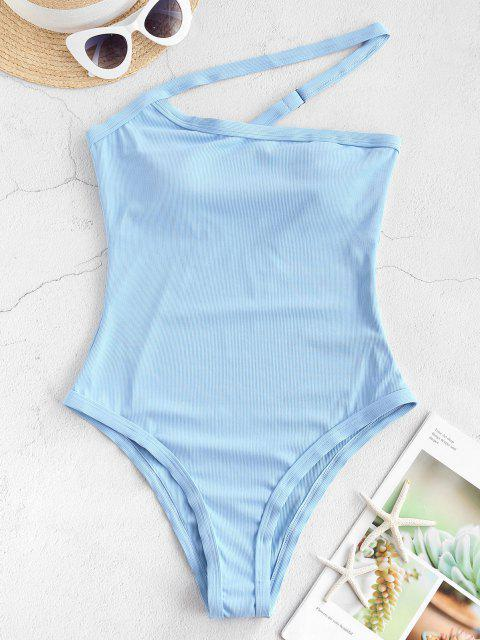 ladies ZAFUL One Shoulder Ribbed One-piece Swimsuit - DAY SKY BLUE S Mobile