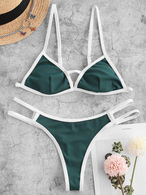 ladies ZAFUL Ribbed Cutout Thong Ringer Bikini Swimwear - DEEP GREEN S Mobile