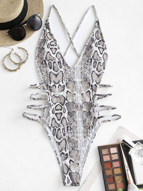 shops ZAFUL Animal Print Side Boob Strappy One-piece Swimsuit - LIGHT GRAY L Mobile