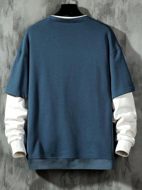 fancy Keep Running Letter Print Faux Twinset Sweatshirt - MIST BLUE M Mobile