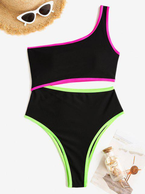 fashion ZAFUL One Shoulder Neon Trim Cutout One-piece Swimsuit - BLACK S Mobile