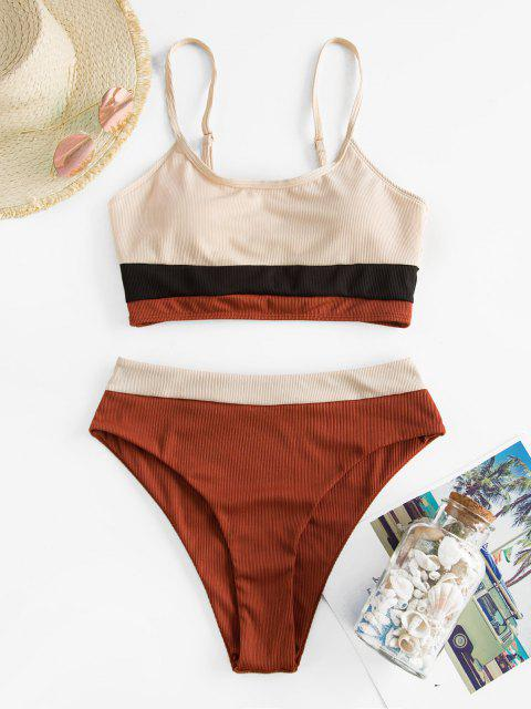 online ZAFUL Ribbed Colorblock Cami Tankini Swimwear - LIGHT COFFEE M Mobile