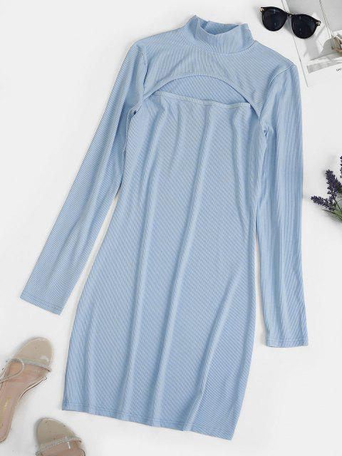 affordable Ribbed Cut Out Long Sleeve Mini Dress - BABY BLUE L Mobile
