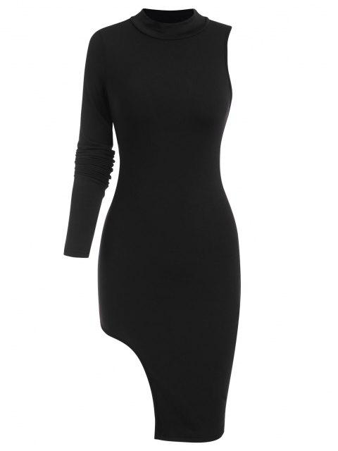 hot Mock Neck Asymmetrical Sleeve Mini Dress - BLACK L Mobile