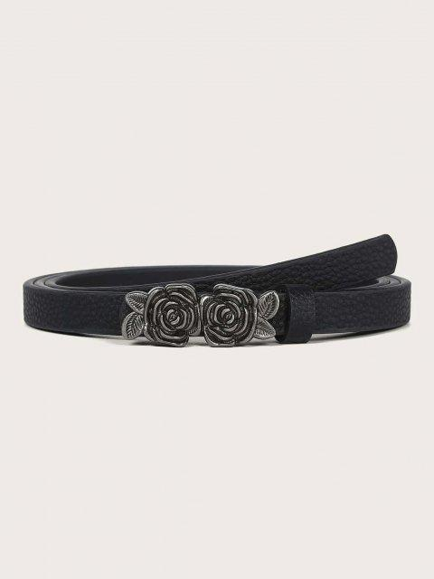 Retro Rose Embellished Buckle Skinny Belt - أسود  Mobile