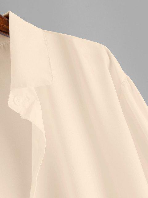 Camisa Llana de Hombro Caído y Botones - café luz S Mobile
