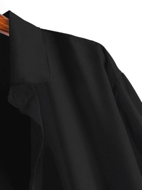 affordable Button Up Drop Shoulder Plain Shirt - BLACK S Mobile
