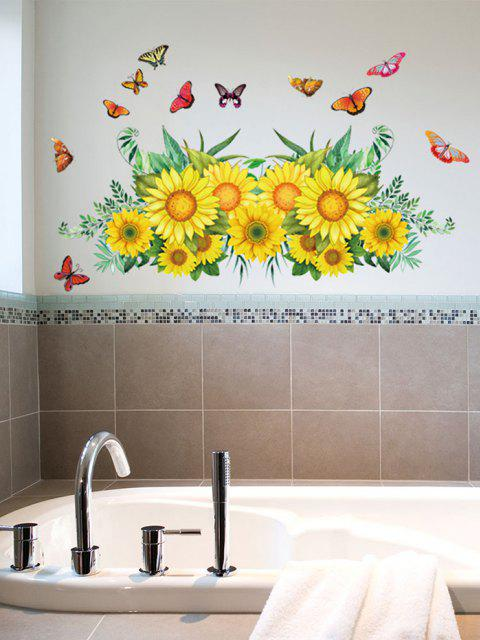shops Sunflower Butterfly Pattern Removable Wall Stickers - MULTI-A 30X60CM Mobile