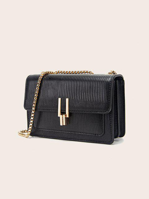 outfit Lizard Embossed Double Chain Strap Mini Crossbody Bag - BLACK  Mobile