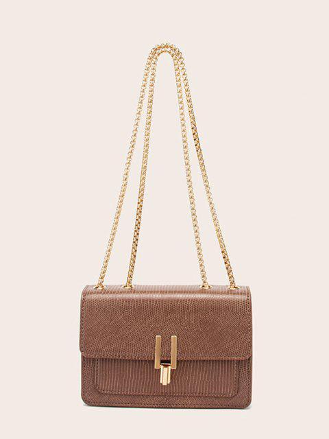 shops Lizard Embossed Double Chain Strap Mini Crossbody Bag - BROWN BEAR  Mobile
