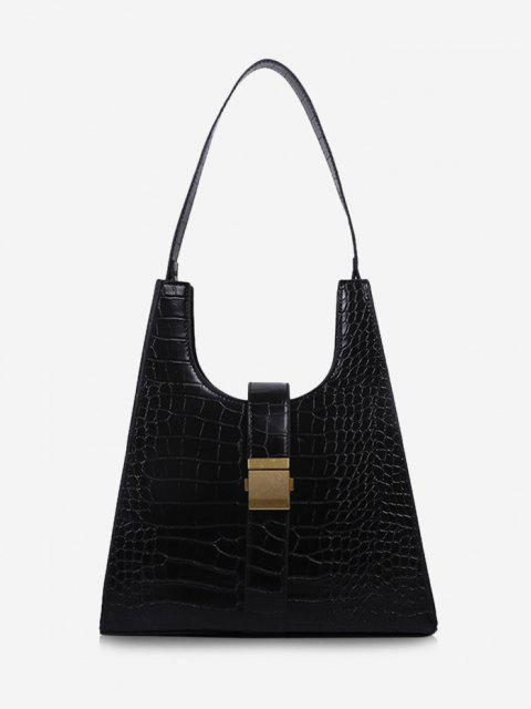 online Buckle Embellished Trapezoid Shoulder Bag - BLACK  Mobile