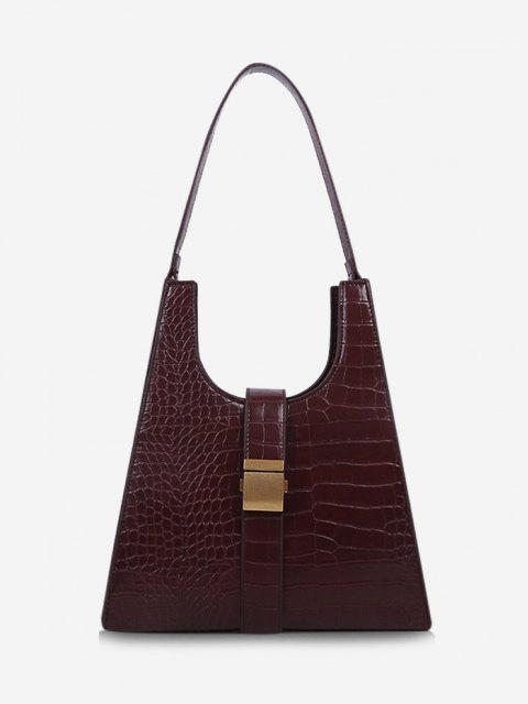 hot Buckle Embellished Trapezoid Shoulder Bag - RED WINE  Mobile