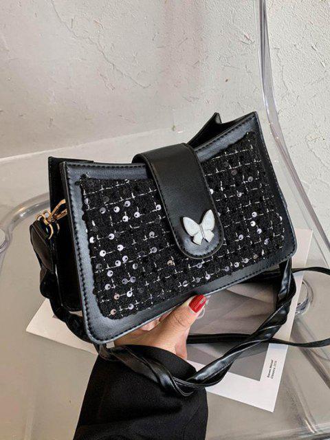 shops PU Butterfly Sequins Shoulder Bag - BLACK  Mobile