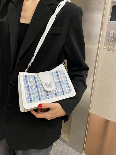 Borsa a Spalla con Lustrini e Motivo a Farfalla - Bianca Latte  Mobile
