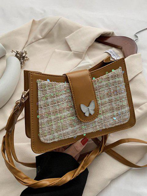 fashion PU Butterfly Sequins Shoulder Bag - BROWN  Mobile