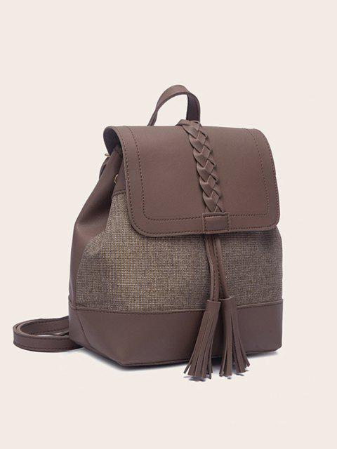 affordable Braided Tassel Two Tone Backpack - BROWN BEAR  Mobile