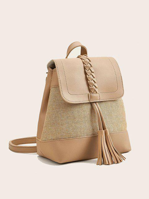 womens Braided Tassel Two Tone Backpack - BLANCHED ALMOND  Mobile