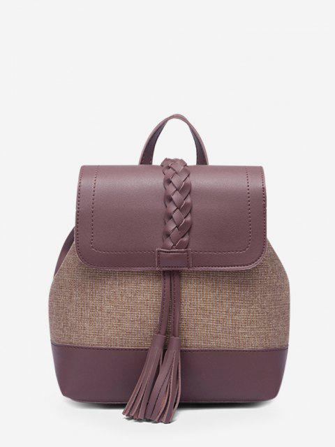 women Braided Tassel Two Tone Backpack - DULL PURPLE  Mobile