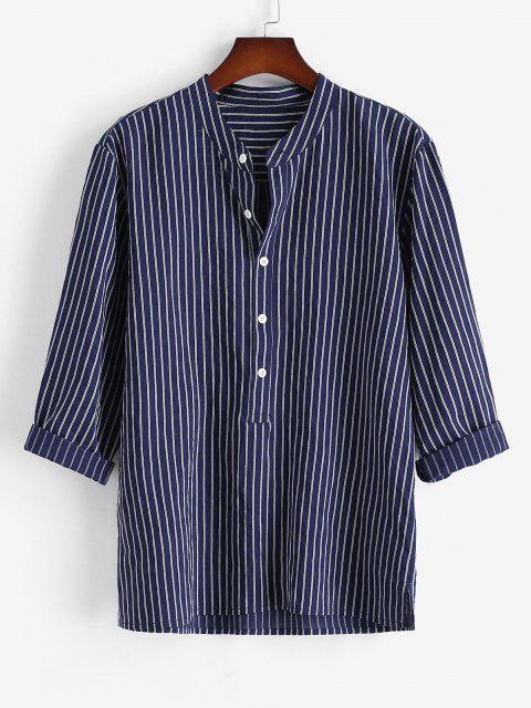hot Half Button Striped Print Shirt - DEEP BLUE L Mobile