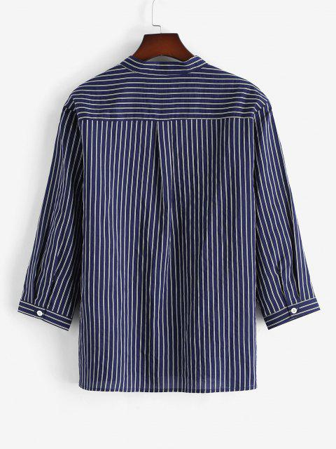 chic Half Button Striped Print Shirt - DEEP BLUE XL Mobile
