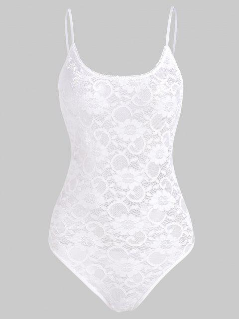 latest Snap Crotch Lace Teddy - WHITE L Mobile