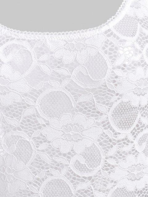 sale Snap Crotch Lace Teddy - WHITE S Mobile