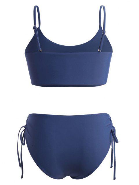ZAFUL Biquíni de Cintura Alta com Decote em Grande Tamanho - Azul Escuro XL Mobile