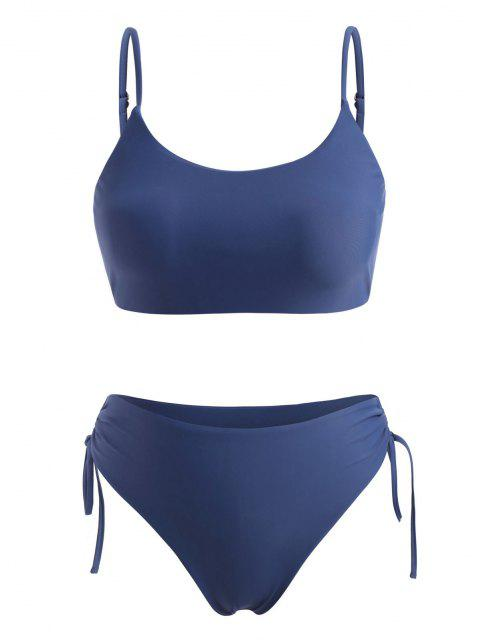 shop ZAFUL Plus Size Cinched High Waisted Bikini Swimwear - DEEP BLUE XXXL Mobile