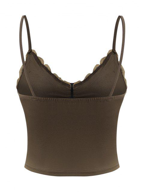 unique Lace Panel Ruched Cropped Camisole - COFFEE S Mobile