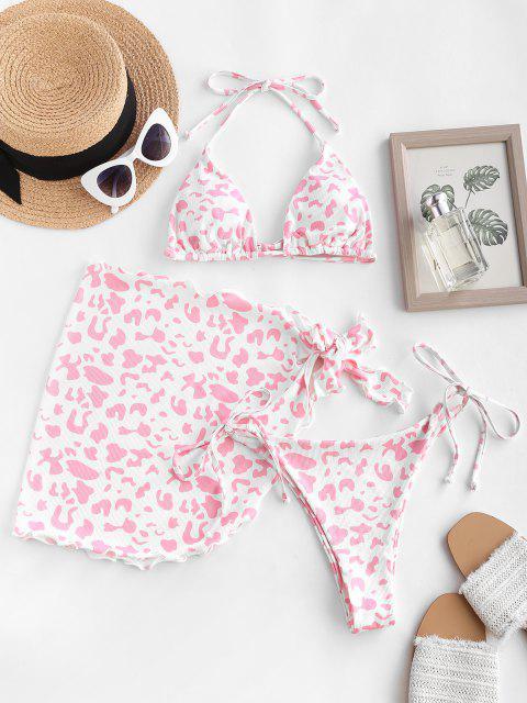 new ZAFUL Leopard Print Padded Three Piece Bikini Swimsuit - LIGHT PINK L Mobile