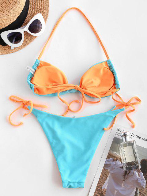 ZAFUL Bikini de Bañador Trenzado con Nudo - Azul claro S Mobile