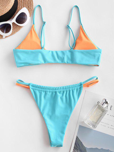 outfit ZAFUL Colorblock Twisted Knot Tanga Cheeky Bikini Swimwear - LIGHT BLUE S Mobile
